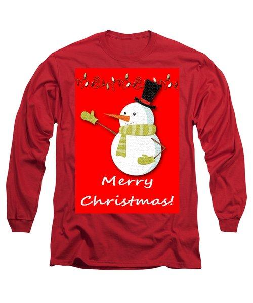 Merry Christmas Big Snow Man On Red Long Sleeve T-Shirt