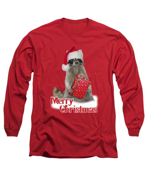 Merry Christmas -  Raccoon Long Sleeve T-Shirt by Gravityx9 Designs