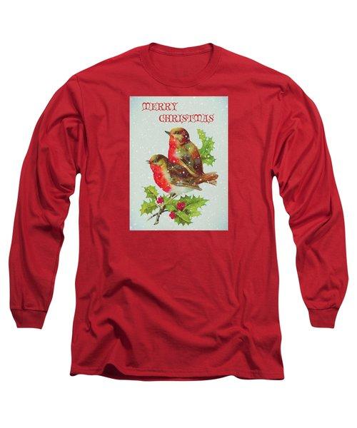 Merry Christmas Snowy Bird Couple Long Sleeve T-Shirt by Sandi OReilly
