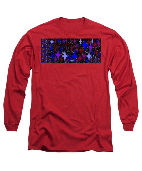 Merry Christmas To All, Starry, Starry Night Long Sleeve T-Shirt by Linda Velasquez