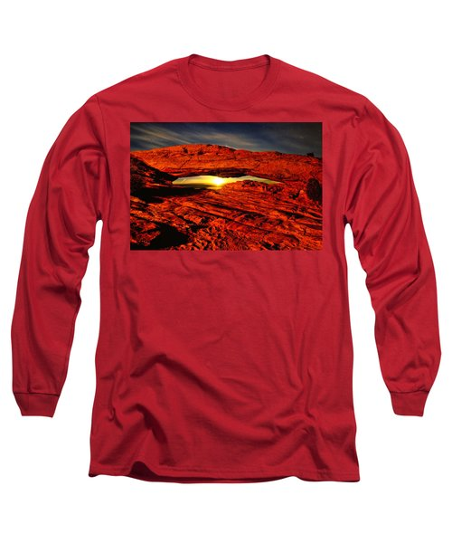 Mesa Arch Moonshine Long Sleeve T-Shirt by Greg Norrell