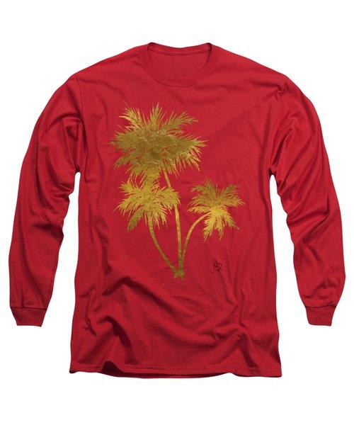 Metallic Gold Palm Trees Tropical Trendy Art Long Sleeve T-Shirt