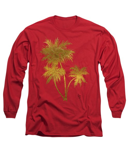 Metallic Gold Palm Trees Tropical Trendy Art Long Sleeve T-Shirt