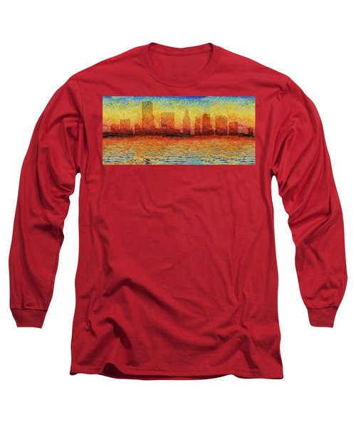 Miami Skyline 5 Long Sleeve T-Shirt by Andrew Fare
