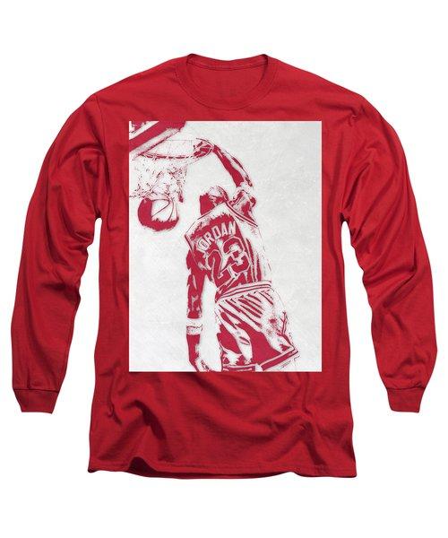 Michael Jordan Chicago Bulls Pixel Art 1 Long Sleeve T-Shirt by Joe Hamilton