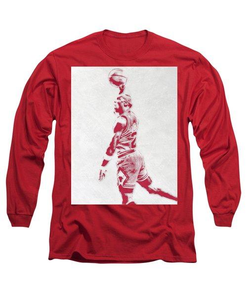 Michael Jordan Chicago Bulls Pixel Art 3 Long Sleeve T-Shirt by Joe Hamilton