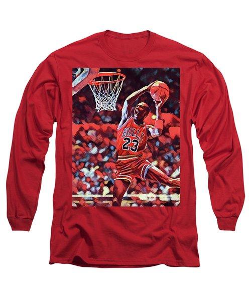 Long Sleeve T-Shirt featuring the painting Michael Jordan Slam Dunk by Dan Sproul
