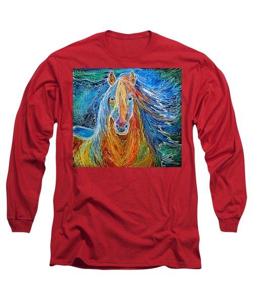 Midnightsun Equine Batik Long Sleeve T-Shirt by Marcia Baldwin