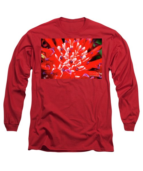 Long Sleeve T-Shirt featuring the photograph Flaming Torch Bromeliad By Kaye Menner by Kaye Menner