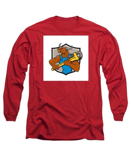 Minotaur Bull Plumber Wrench Crest Cartoon Long Sleeve T-Shirt by Aloysius Patrimonio