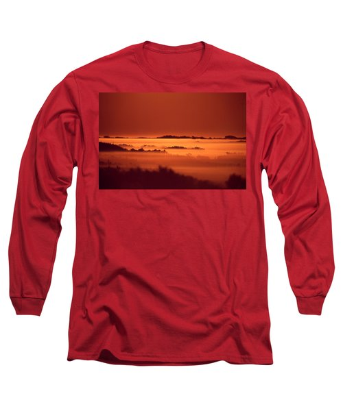 Misty Meadow At Sunrise Long Sleeve T-Shirt