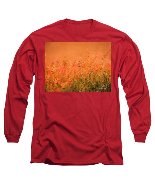 Misty Yellow Hue- Pink Blooms Long Sleeve T-Shirt