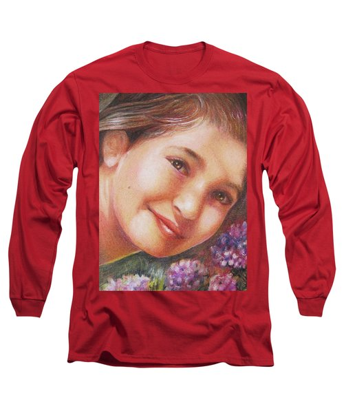 Mona Lisa's Smile Long Sleeve T-Shirt by Patricia Schneider Mitchell