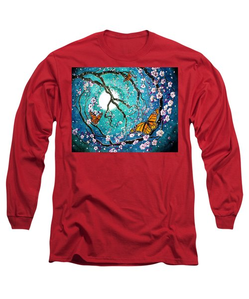 Monarch Butterflies In Teal Moonlight Long Sleeve T-Shirt by Laura Iverson