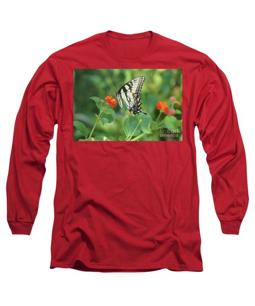 Long Sleeve T-Shirt featuring the painting Monarch Butterfly by Debra Crank