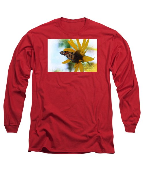 Monarch With Sunflower Long Sleeve T-Shirt by Yumi Johnson