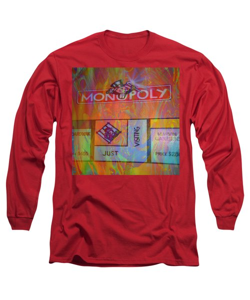Long Sleeve T-Shirt featuring the mixed media Monopoly Dream by Kevin Caudill