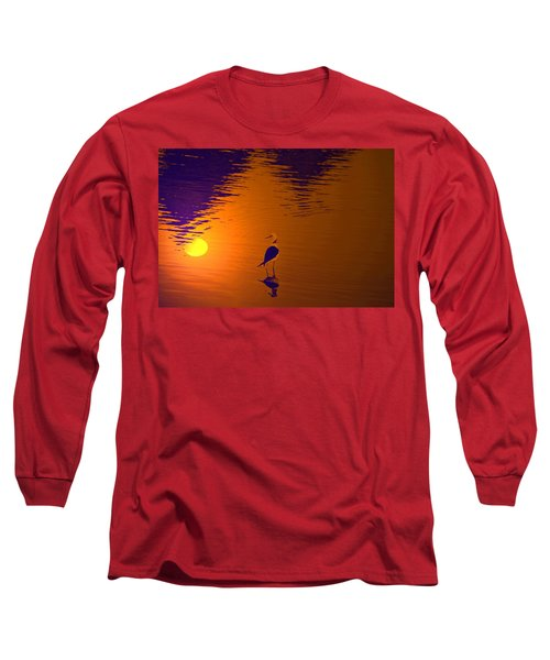 Long Sleeve T-Shirt featuring the digital art Moon In The Water by Bliss Of Art