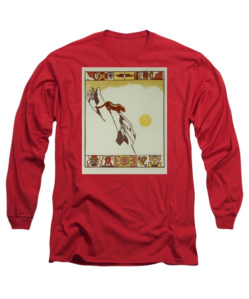 Moon Of Red Chokecherries Long Sleeve T-Shirt by Dawn Senior-Trask