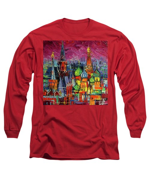 Moscow Red Square View Textural Impressionist Stylized Cityscape Long Sleeve T-Shirt