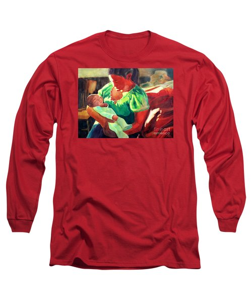Long Sleeve T-Shirt featuring the painting Mother And Child In Red2 by Kathy Braud