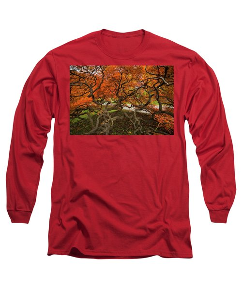 Mount Auburn Cemetery Beautiful Japanese Maple Tree Orange Autumn Colors Branches Long Sleeve T-Shirt