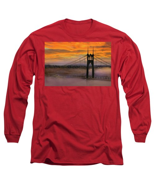 Mount Hood By St Johns Bridge During Sunrise Long Sleeve T-Shirt