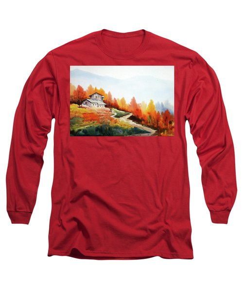 Long Sleeve T-Shirt featuring the painting Mountain Autumn Forest by Samiran Sarkar