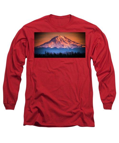 Mt. Rainier Sunset Long Sleeve T-Shirt
