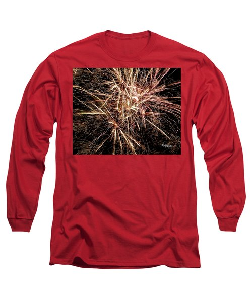 Long Sleeve T-Shirt featuring the photograph Multi Blast Fireworks #0721 by Barbara Tristan