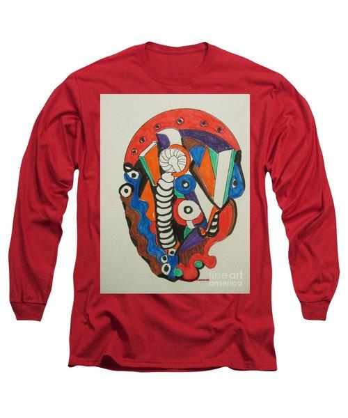 Long Sleeve T-Shirt featuring the drawing Mushroom Powered Engine 01 - Bellingham - Lewisham, by Mudiama Kammoh
