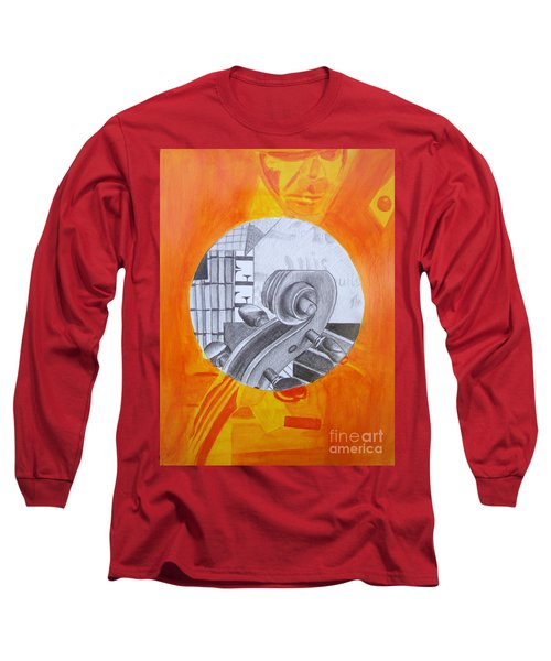 Long Sleeve T-Shirt featuring the painting Music 3 by Maria Langgle