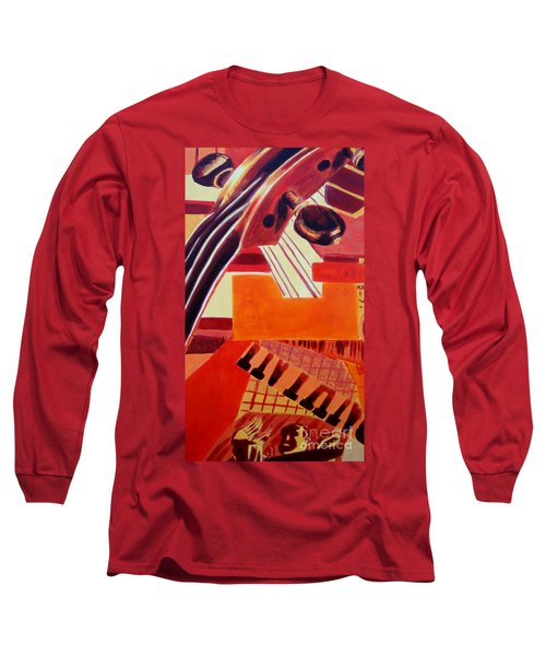 Long Sleeve T-Shirt featuring the painting Music by Maria Langgle