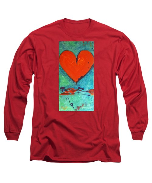 Long Sleeve T-Shirt featuring the painting Musical Heart by Diana Bursztein