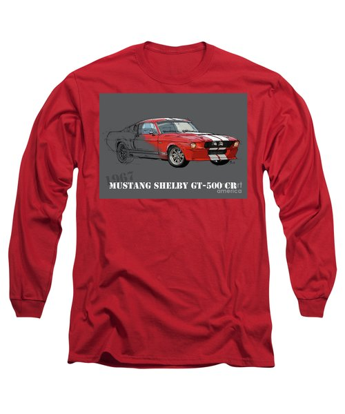 Mustang Shelby Gt500 Red, Handmade Drawing, Original Classic Car For Man Cave Decoration Long Sleeve T-Shirt