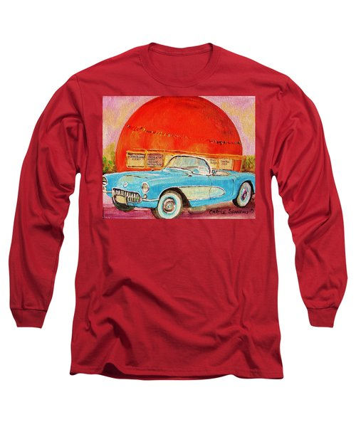 Long Sleeve T-Shirt featuring the painting My Blue Corvette At The Orange Julep by Carole Spandau