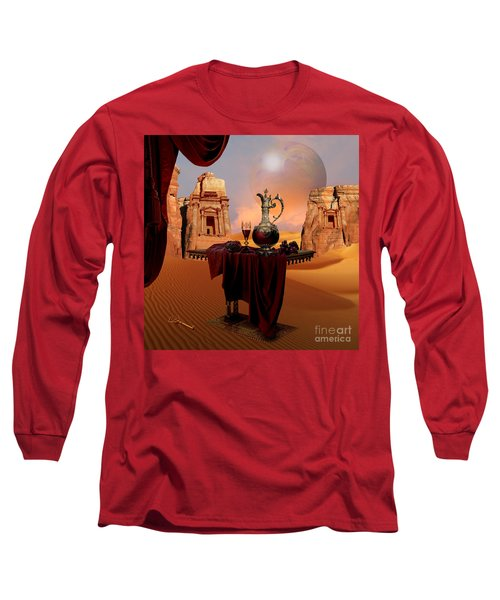 Long Sleeve T-Shirt featuring the digital art Mystic Ruins In Desert by Alexa Szlavics