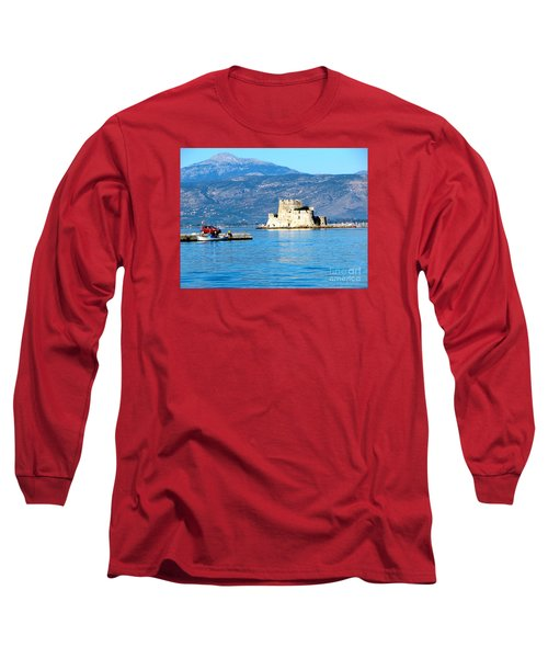 Long Sleeve T-Shirt featuring the photograph Naflion Greece Harbor Fortress by Phyllis Kaltenbach