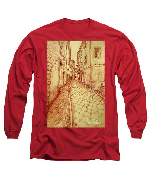 Long Sleeve T-Shirt featuring the drawing Narrow Street Of Lovere Italy by Maja Sokolowska