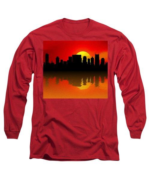 Nashville Skyline Sunset Reflection Long Sleeve T-Shirt by Dan Sproul