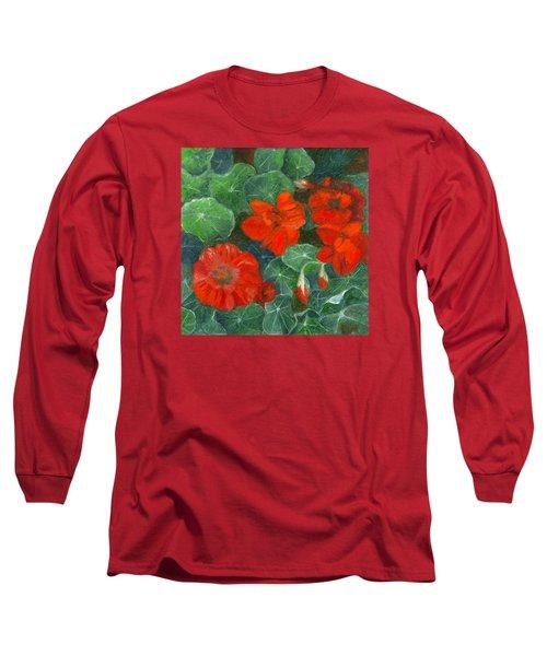 Nasturtiums Long Sleeve T-Shirt by FT McKinstry