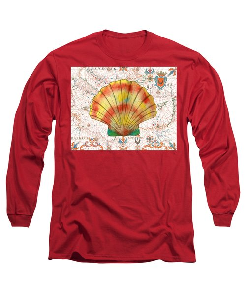 Long Sleeve T-Shirt featuring the painting Nautical Treasures-f by Jean Plout