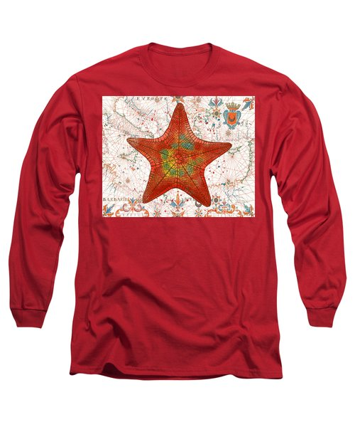 Long Sleeve T-Shirt featuring the painting Nautical Treasures-k by Jean Plout