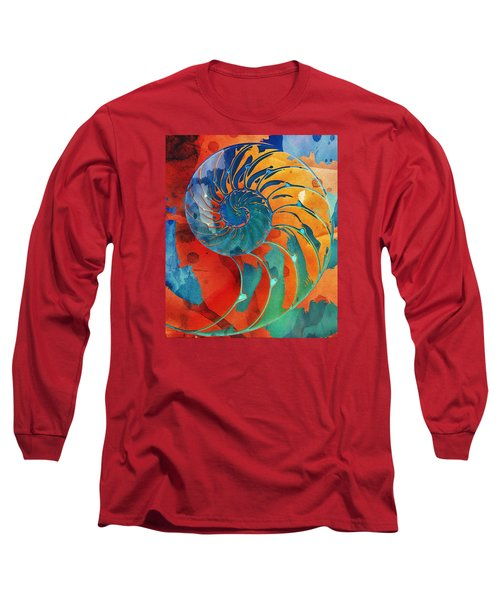 Nautilus Shell Orange Blue Green Long Sleeve T-Shirt