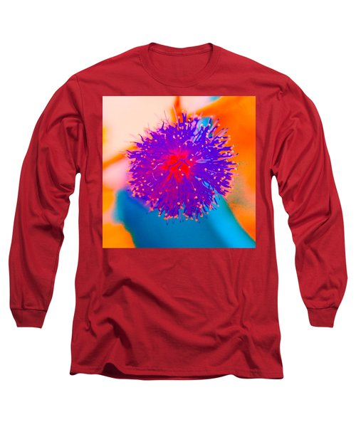 Neon Pink Puff Explosion Long Sleeve T-Shirt by Samantha Thome