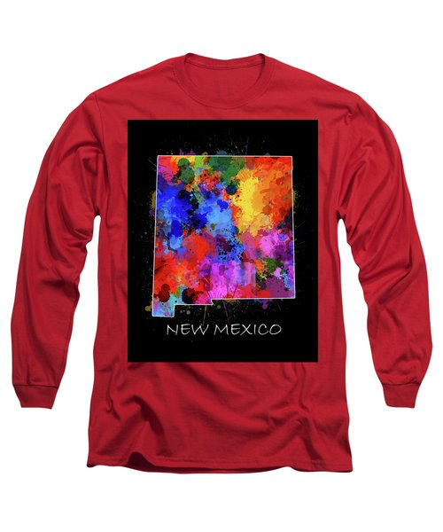 New Mexico Map Color Splatter 2 Long Sleeve T-Shirt