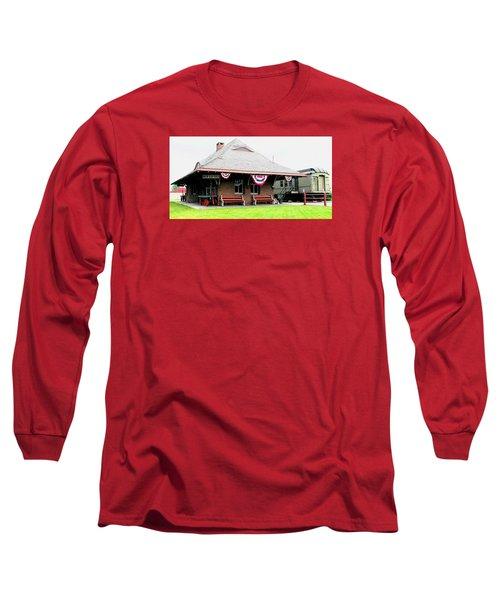 New Oxford Pennsylvania Train Station Long Sleeve T-Shirt by Angela Davies