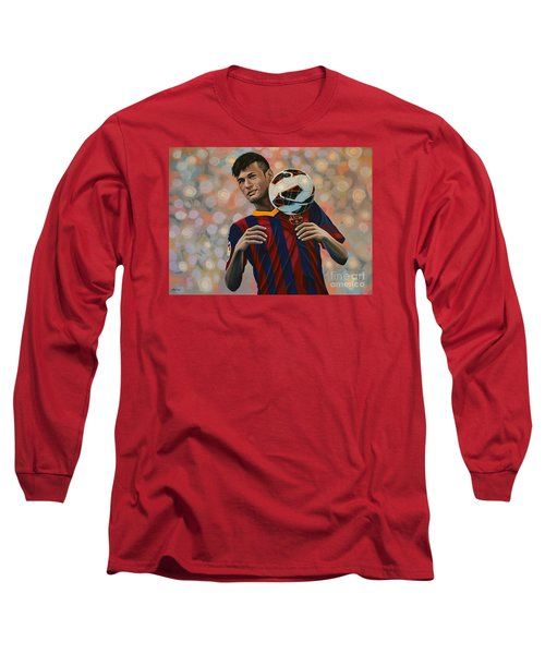 Neymar Long Sleeve T-Shirt by Paul Meijering