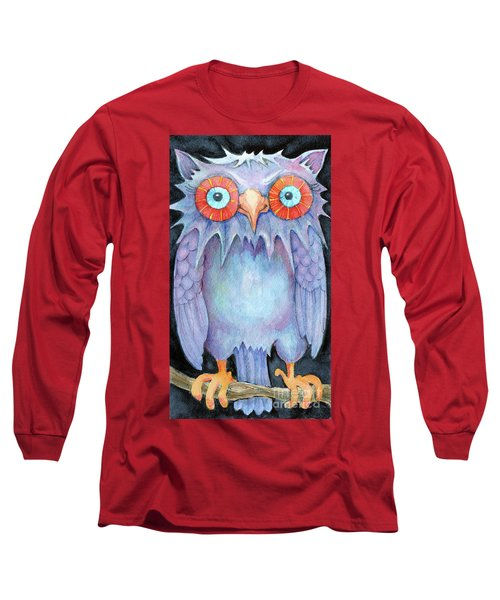 Long Sleeve T-Shirt featuring the painting Night Owl by Lora Serra