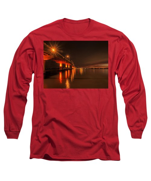 Night Time Reflections At The Bridge Long Sleeve T-Shirt